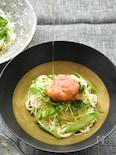 ちょっぴり洋風♪たらことアスパラのオイル素麺〜白だし風味
