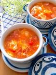 ほのかな酸味と白だしでさっぱり♡トマトとふわふわ卵のスープ