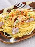 カリカリガーリックと秋刀魚のオイル煮で♪ペペロンチーノ
