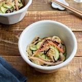 ズッキーニのカニカマ塩昆布和え。簡単!作り置き副菜。
