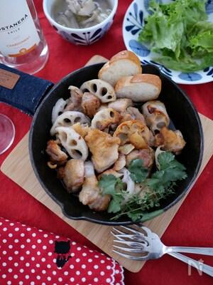 鶏ももと蓮根のオイル焼き