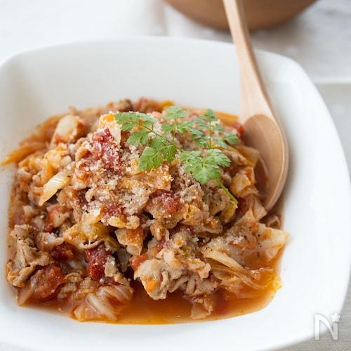 『豚バラキャベツのトマト煮』#トマト缶#キャベツたっぷり