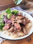 """ハワイスタイルxベトナム風ワンプレご飯""""ステーキプレート"""""""