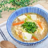 鶏めしの素で簡単!『豆腐とかき玉のとろみ鶏出汁スープ』