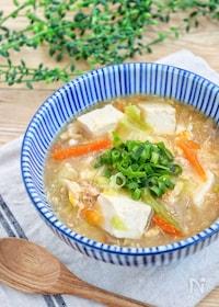『鶏めしの素で簡単!『豆腐とかき玉のとろみ鶏出汁スープ』』