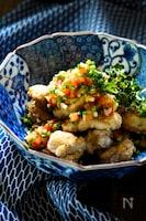 カリッと香ばしいゆず胡椒揚げ鶏&トマト柚子胡椒ネギソース添え