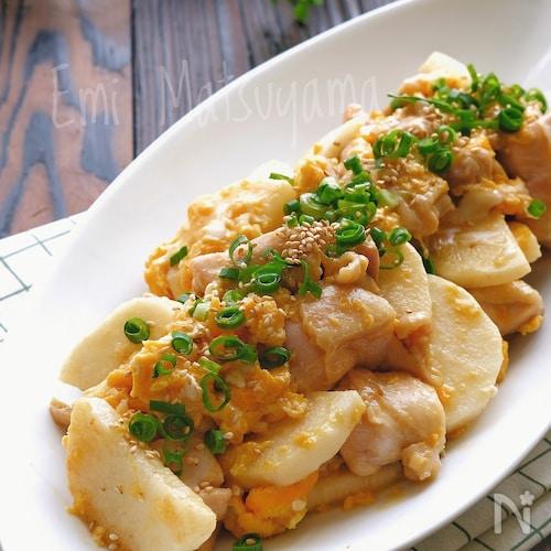 【らくレピ】鶏肉と長芋のマヨたま炒め