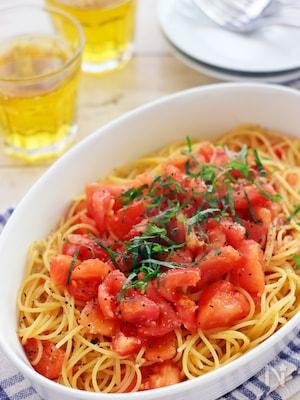 フレッシュトマトとシソのスパゲティー
