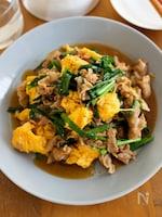 『豚ニラ玉のとろみ中華炒め』卵ふんわり♬ご飯が進む中華味!