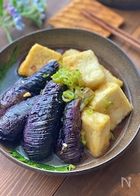 『茄子と豆腐の揚げ出し【カリッとジュワ旨です】』