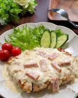 濃厚大満足♡ガーリックチキンステーキのカルボナーラ風ソース
