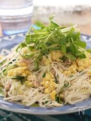 豆苗の素麺チャンプルー