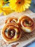【発酵なしのお手軽パン】ハムとバジルのうず巻きロールパン♪