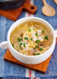 『包丁いらず♪『鶏ひき肉ともやしのかき玉スープ』』