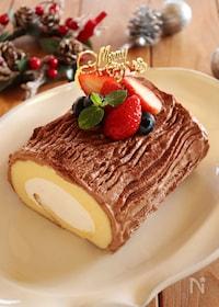 『市販のロールケーキで作る!ブッシュドノエル』