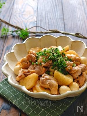パワーアップ!長芋と鶏肉とうずらの卵のオイぽんマヨ炒め