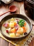 さつま芋とごぼうの和風豆乳チャウダー