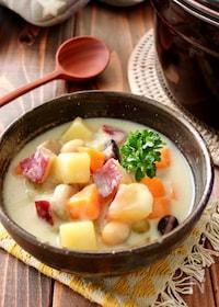 『さつま芋とごぼうの和風豆乳チャウダー』