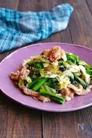 豚こまとキャベツと菜の花のスタミナすし酢マヨ炒め