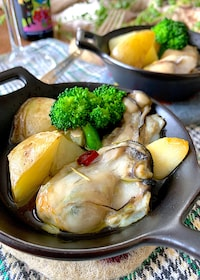 『ふふおつまみ♡【牡蠣とポテトのちょっとだけアヒージョ】』