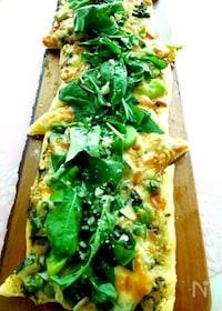 『旬のお野菜とバジリコソースのグリーンピッツァ』