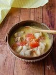 『うどんスープで』鶏肉のトマト酸辣湯スープ