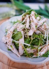 『\コクうま/水菜と鶏胸肉のごまたっぷりドレッシングのサラダ♪』