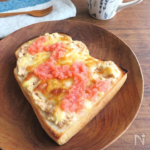 簡単♪明太ツナマヨチーズトースト