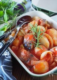 『【レンジのみ】【らくレピ】10分で鯖缶とじゃがいものトマト煮』