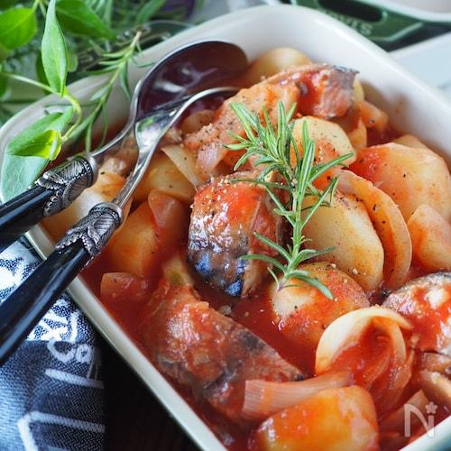 【レンジのみ】【らくレピ】10分で鯖缶とじゃがいものトマト煮