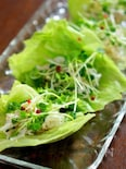 大根とホタテのサラダ レタス巻き