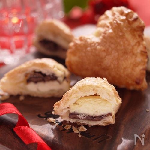ハートの企み♡チョコ&クリームチーズのひと口パイ
