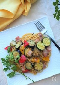 『夏野菜とベーコンのペペロンチーノ』