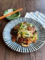 春菊と豚肉の柚子胡椒炒め