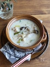 鶏肉としょうがの豆乳スープ