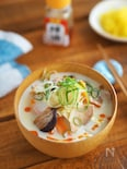豆乳使用。朝にぴったり『野菜たっぷりちゃんぽん風スープ』