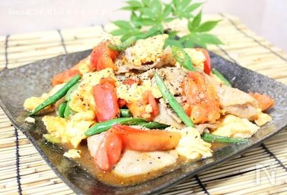 豚バラ肉と卵のトマト炒め