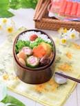 【一正蒲鉾】ピーマンのカニかま肉詰弁当♡減塩サラダスティック