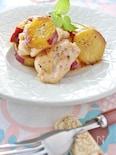 サツマイモと鶏肉のソテー、メープルバターソース