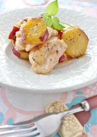 『サツマイモと鶏肉のソテー、メープルバターソース』