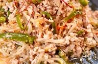 レンジで簡単♪とりこ飯!!【ひき肉と野菜たっぷりチャプチェ】