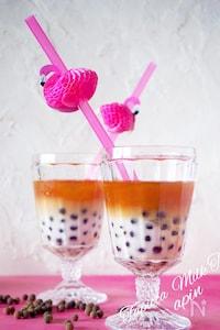 【おうちでカフェ】おうちで簡単2層のタピオカミルクティー♪