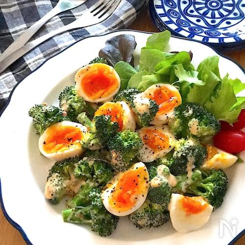 美味しすぎる♡ブロッコリーと半熟卵のスイチリガリマヨサラダ