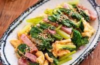【小松菜とベーコンの卵炒め】シンプル旨だし味♬︎