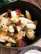 ストウブで蒸し焼きにした手羽先と秋野菜 燻製バター添え