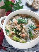 小松菜とツナの中華風春雨スープ【#包丁不要 #水戻し不要】