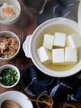 宗田鰹節出汁のあんかけ湯豆腐。