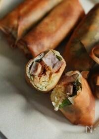 『茹で豚と茹でキャベツの春巻き』