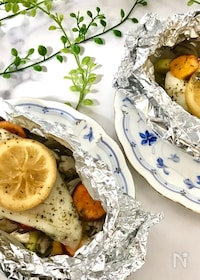 『レモン酢マリネで美味しく減塩!白身魚のホイル焼き』