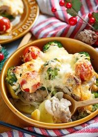 『チキンと野菜のめんマヨチーズ焼き【#クリスマス】』